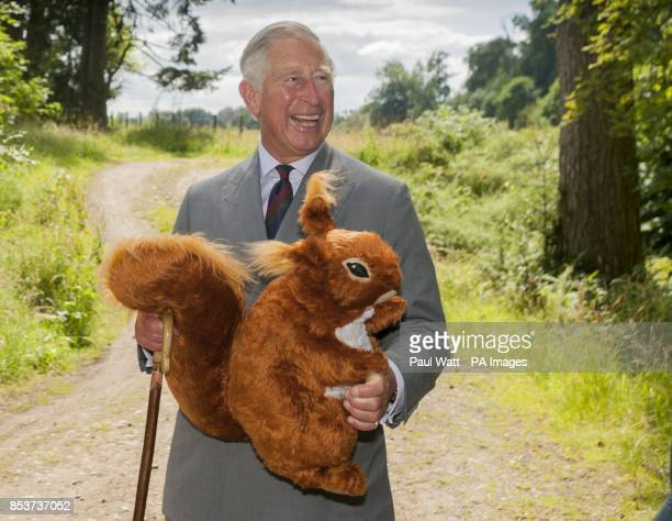 The Prince of Wales receives a toy red squirrel for Prince George presented by the Scottish Wildlife Trust during the visit to Murthly Castle...