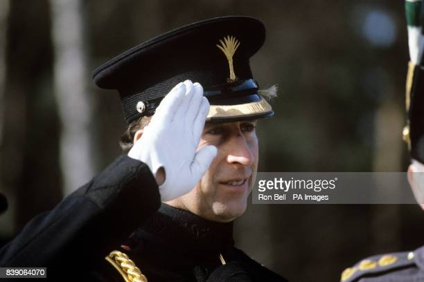 The Prince of Wales saluting during the Regimental St David's Day Parade as Colonel of the Welsh Guards when he visited the 1st Battalion at Queen...