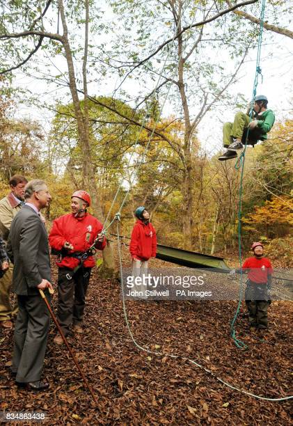The Prince of Wales smiles as children climb up trees during a visit to the Afan Forest near the village of Shinanomachi in central Japan