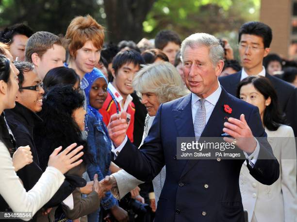The Prince of Wales speaks to students at the Keio University in central Tokyo this morning