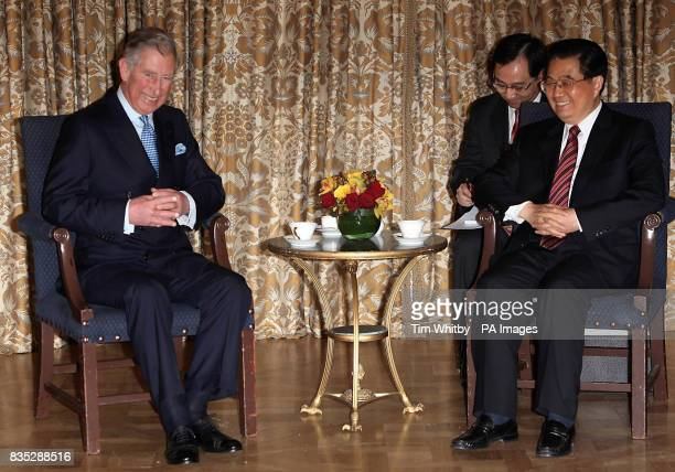The Prince of Wales speaks with Chinese President Hu Jintao at The Mandarin Oriental Hotel London