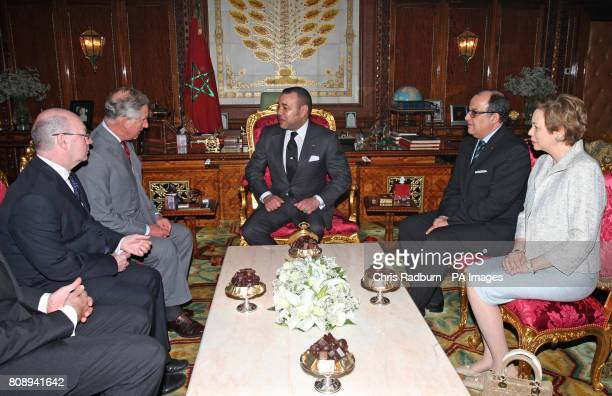 The Prince of Wales speaks with Moroccan King Mohammed VI during an audience at The Palace Royal in Rabat Morocco PRESS ASOCIATION Photo Picture date...