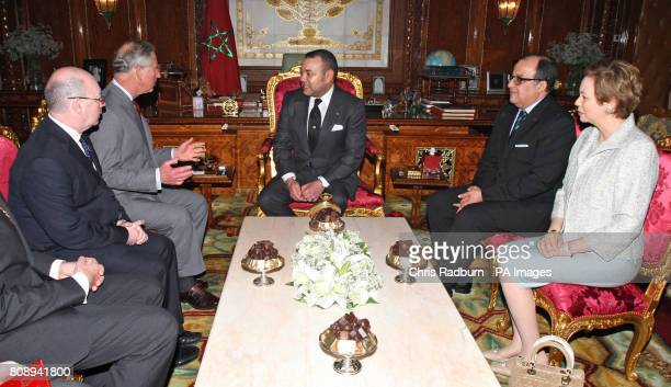 The Prince of Wales speaks with Moroccan King Mohammed VI during an audience at The Palace Royal in Rabat Morocco