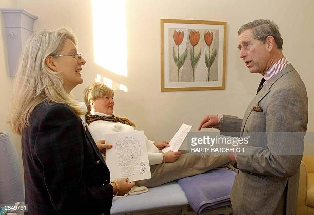 The Prince of Wales speaks with therapist Nadia Brydon and patient Julia Higgs during his visit to the Haven Trust's therapy centre for victims of...