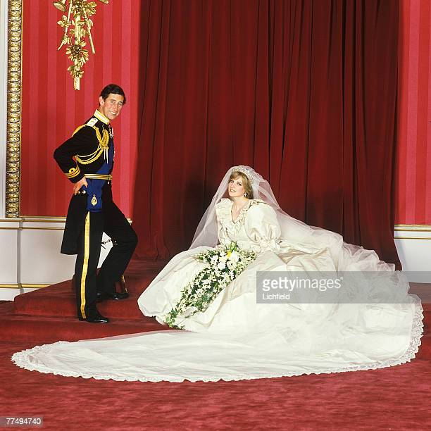HRH The Prince of Wales standing beside HRH The Princess of Wales after their wedding in the Throne Room at Buckingham Palace on 29th July 1981