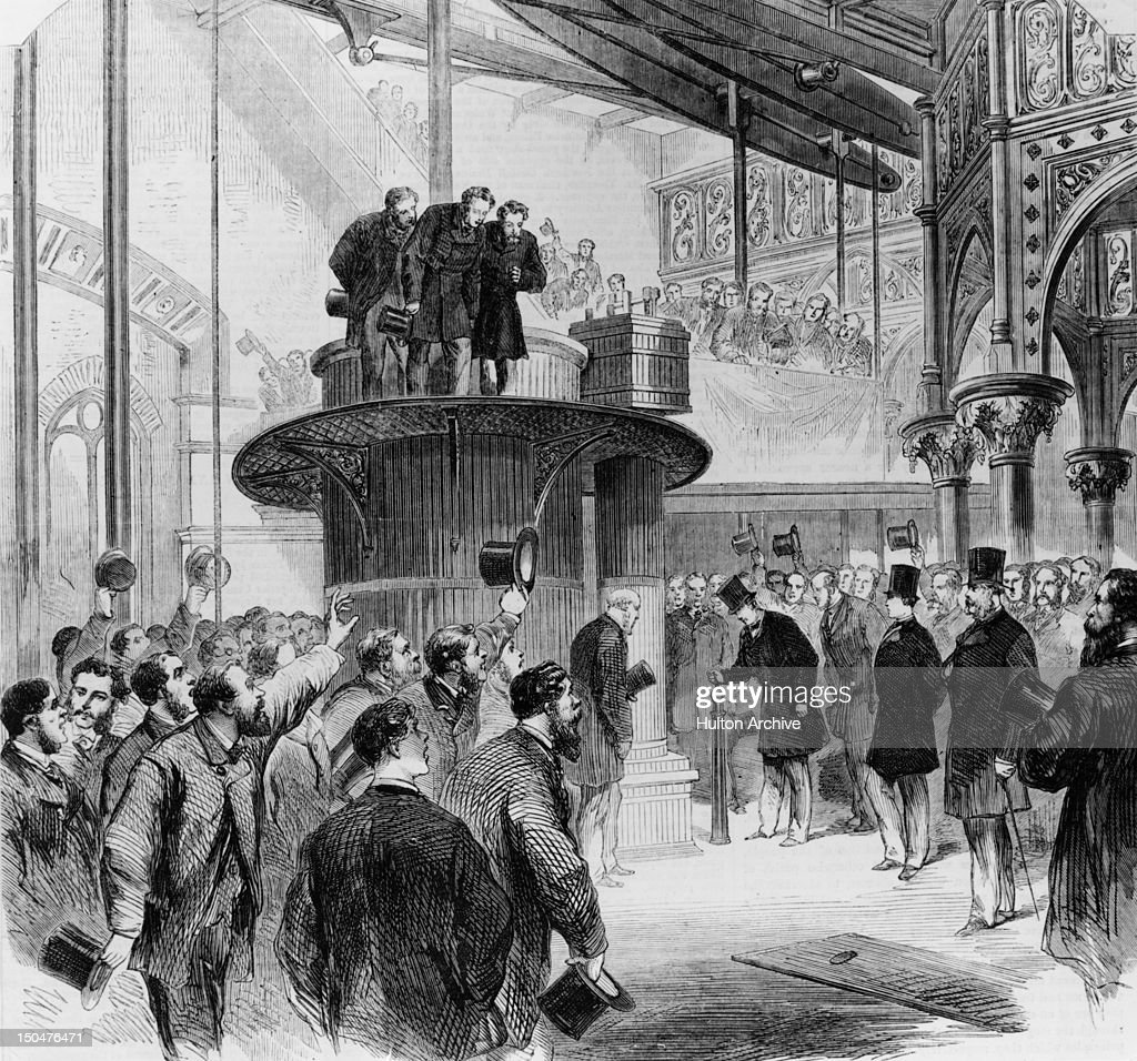 The Prince of Wales starts the engines during the opening of the Metropolitan Main Drainage Works at Crossness in southeast London, 1865. It is part of the London sewerage system designed by Sir Joseph Bazalgette. Original Publication : Illustrated London News - pub. 15th April 1865