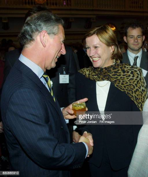 The Prince of Wales talks to Anji Hunter at the launch at Buckingham Palace of 'Arts Kids' which encourages young people to engage with the arts *...