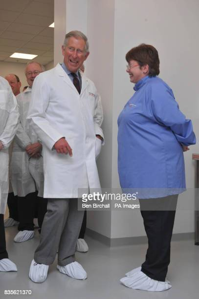 The Prince of Wales talks with Mari Smith who he met in March 1983 in Cardiff during a tour of the OrthoClinical Diagnostics Plant at Pencoed Mid...