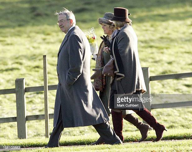 The Prince Of Wales The Duchess Of Cornwall King Constantine Queen AnneMarie Of Greece Attend A Service At Sandringham Church