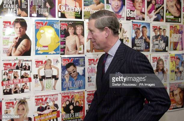 The Prince of Wales visiting the offices of IPC Media in London where he saw how magazines such as TV Times and Country Life are produced