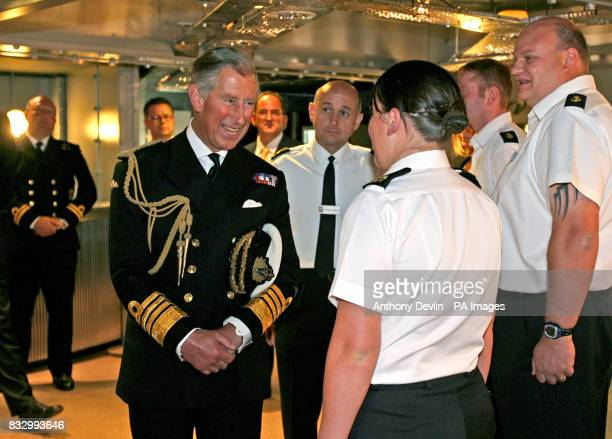 The Prince of Wales visits the new Junior Rates juice bar during a tour of HM Naval Base Davenport in Plymouth