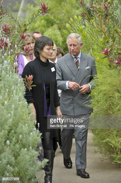 The Prince of Wales walks amongst the greenery in the Great Glasshouse at the National Botanic Gardens of Wales in Carmarthen as he continues his...