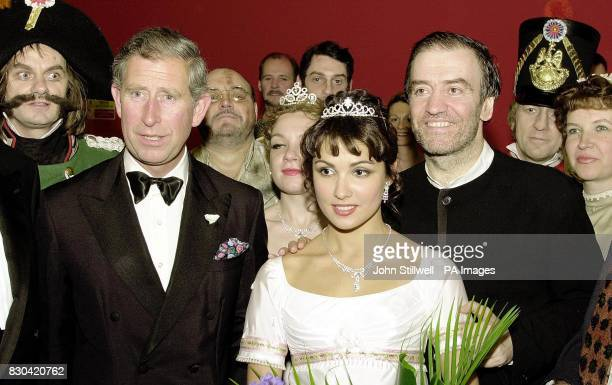 The Prince of Wales with members of the Kirov Opera and Ballet company following their performance of War and Peace at the Royal opera house in...