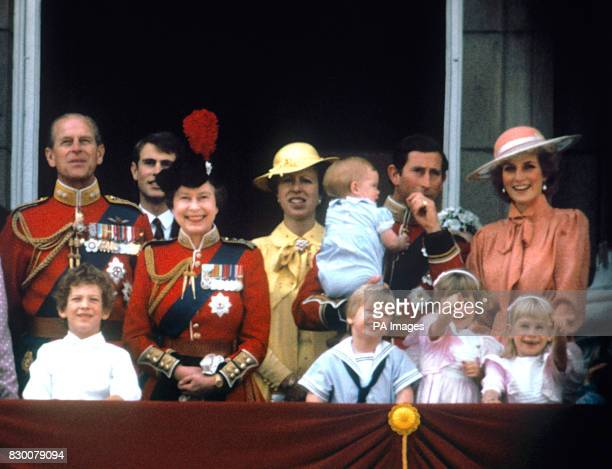 The Prince of Wales with the Princess of Wales baby Prince Harry Prince William the Duke of Edinburgh Prince Edward Queen Elizabeth II and Princess...