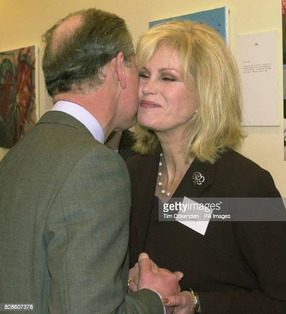 The Prince of Walesas patron of the mental health charity Sane greets Joanna Lumley a supporter of the charity when he officialy opened the 6 million...