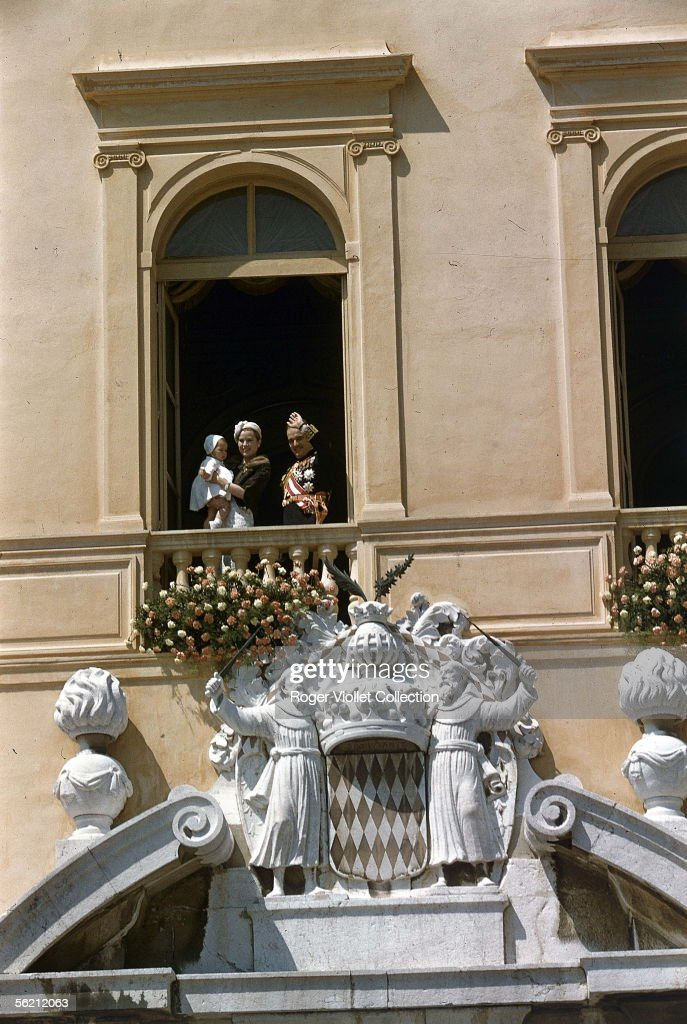 The prince Rainier the princess Grace and Albert de Monaco Principality of Monaco 1958