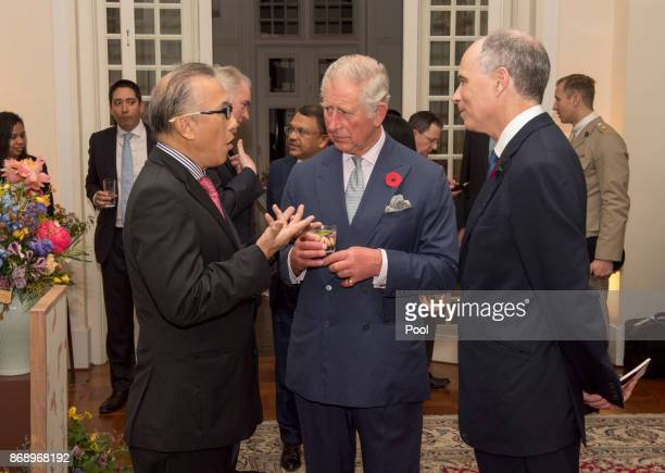 The Prince talks to Mr Sonny Verghese Chairman World Council for Sustainable Development as Their Royal Highnesses The Prince of Wales and The...