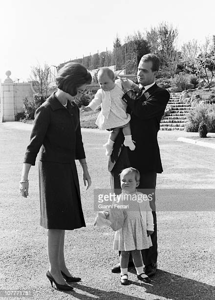 The princes Juan Carlos de Borbon and Sofia of Greece in the gardens of the Zarzuela Palace with their daughters Cristina and Elena Madrid Spain