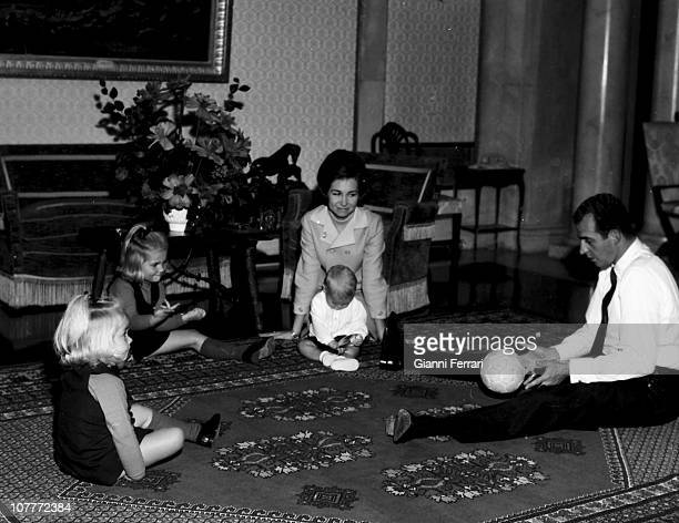 The princes Juan Carlos of Borbon and Sofia of Greece in the Zarzuela Palace with their sons Cristina Elena and Prince Felipe Madrid Spain
