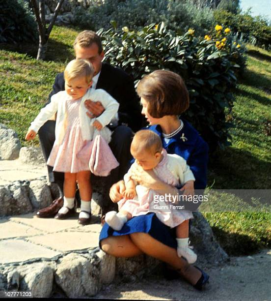 The Princes of Spain Juan Carlos of Borbon and Sofia of Greece in the Zarzuela Palace with their daughters Elena and Cristina Madrid Spain