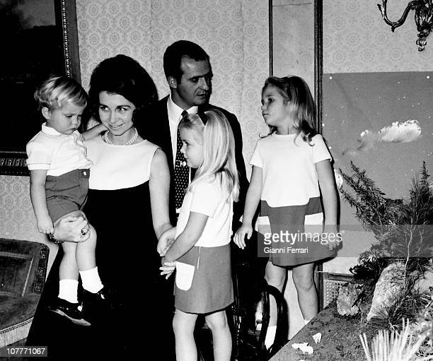 The princes of Spain Juan Carlos of Borbon and Sofia of Greece with their three sons Felipe Cristina and Elena at Christmas in the Zarzuela Palace...