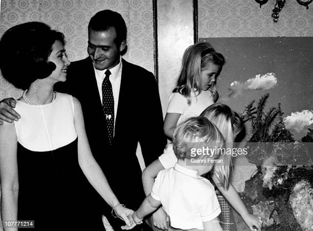 The princes of Spain Juan Carlos of Borbon and Sofia of Greece with their three sons Felipe Elena and Cristina at Christmas in the Zarzuela Palace...