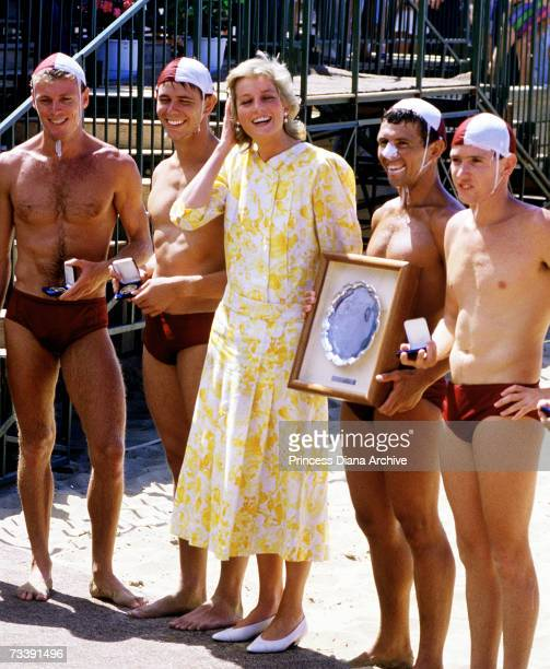The Princes of Wales meeting lifeguards at Terrigal beach during her visit to Australia January 1988 She is wearing a Paul Costelloe dress