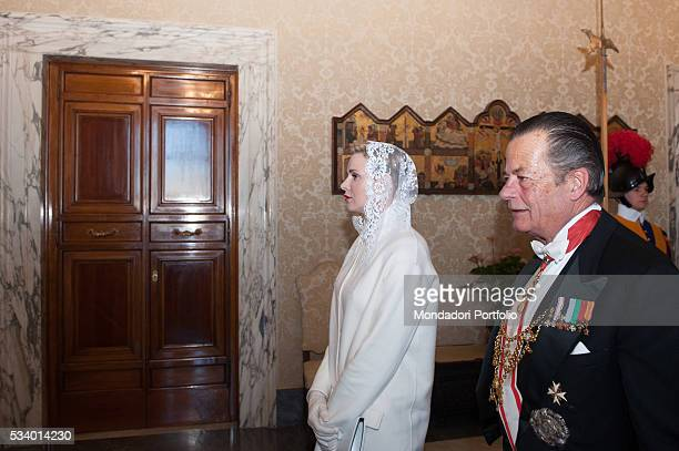 The Princess and Albert II Prince of Monaco 's wife Charlène Wittstock during the audience with Pope Francis in the Private Library of the Apostolic...
