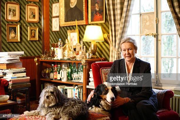 The princess and last king of Italy Umberto II and Maria Jos's daughter Maria Gabriella of Savoy posing for a photo shooting at home Geneva...