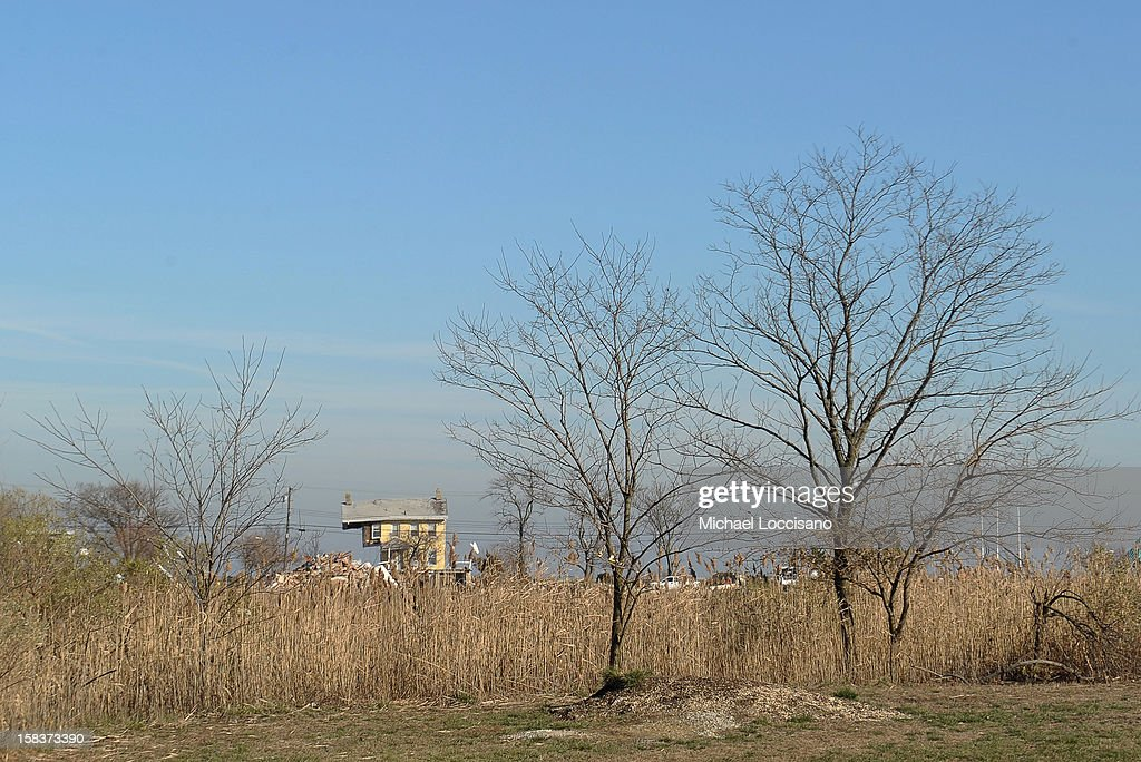The Princess Cottage Inn is seen across a wheatfield on December 14, 2012 in Union Beach, New Jersey. The town is struggling to rebuild and recover from the devastation left by Superstorm Sandy and relying heavily on donations.