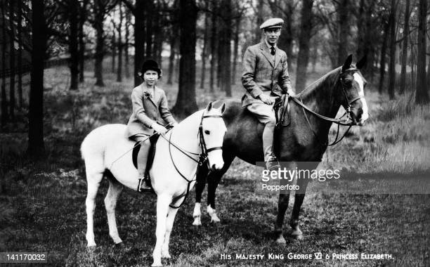 The Princess Elizabeth and her father King George VI on horseback circa 1935