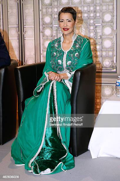 The Princess Lalla Meryem of Morocco delivers the insignia of the Order of the Throne Held at Institut du Monde Arabe on February 1 2015 in Paris...
