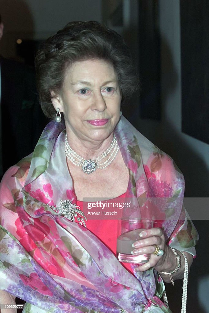 HRH The Princess Margaret attends the NSPCC Suffolk Gala Ball at Melford Hall, Long Melford, Suffolk. escorted by Sir Richard Hyde-Parker