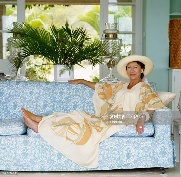 HRH The Princess Margaret reclining on a sofa at her home Les Jolies Eaux on Mustique in the West Indies in April 1976