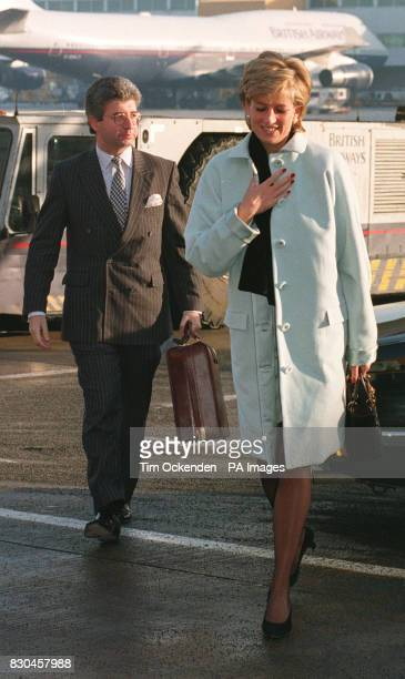 The Princess of Wales and her Private Secretary Patrick Jephson at Heathrow Airport Mr Jephson who was Princess Diana's private secretary for six...