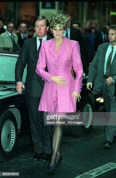 The Princess of Wales arrives at an Aids Information kiosk in the Latin quarter of Paris with her bodyguard Inspector Ken Wharfe during a day of...