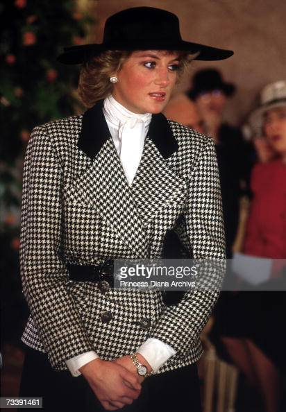 The Princess of Wales arriving at a reception at the ctiy hall in Munich November 1987 She is wearing a checked suit by Alistair Blair
