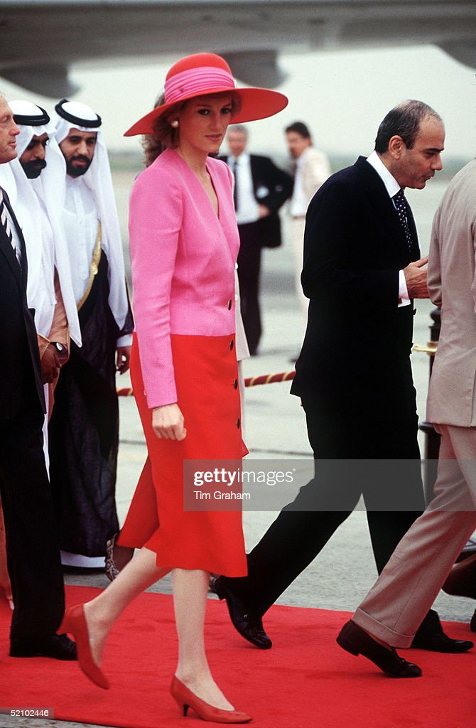 The Princess Of Wales Arriving In Kuwait On The Gulf Tour.