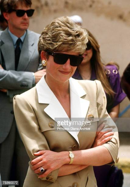 The Princess of Wales at Karnak Temple in Luxor Egypt May 1992 She is wearing a dress by Catherine Walker