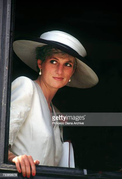 The Princess of Wales at Portsmouth for a ceremony celebrating the safe return of the Royal Hampshire Regiment from the Gulf War August 1991 The...