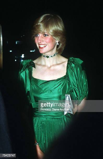 The Princess of Wales attends a charity concert at the Barbican November 1982 She wears a green gown by Graham Wren