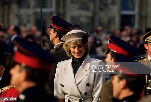The Princess of Wales attends a service for the Royal Hampshire regiment in Winchester on October 1987 She is wearing a suit by Arabella Pollen and...