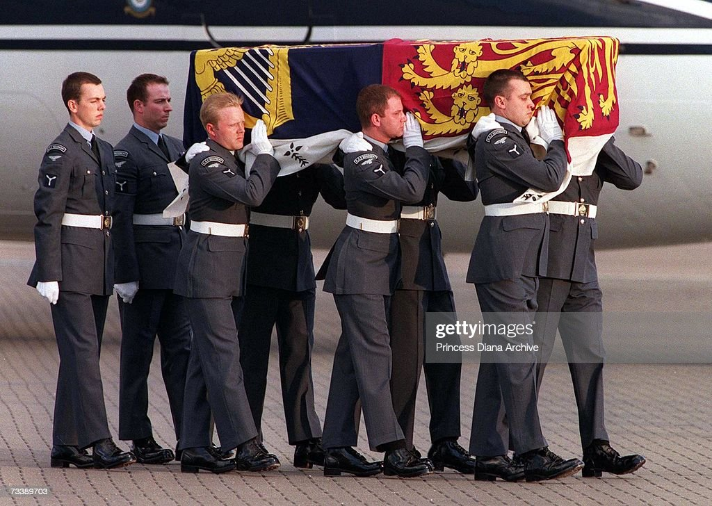 The Princess of Wales' coffin arriving at RAF Northolt from Paris after her death in a car crash, 31st August 1997.
