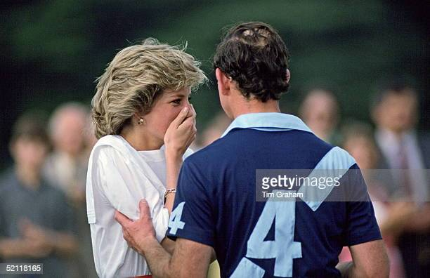 The Princess Of Wales Covers Her Mouth As She Laughs With Prince Charles At A Polo Match In Windsor Berkshire