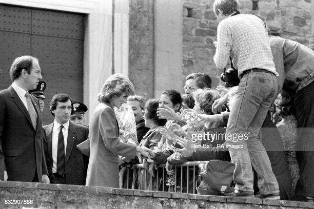 The Princess of Wales gets to know some of the people who have gathered outside the historic church of San Miniato in Florence