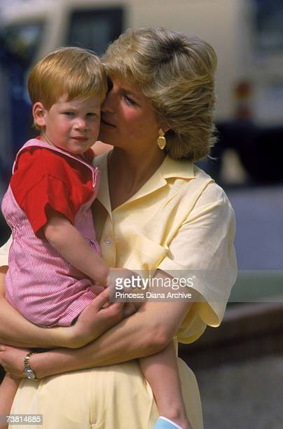 The Princess of Wales holidays at the Marivent Palace in Majorca with her son Prince Harry August 1987