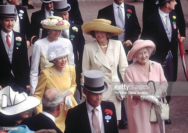 The Princess of Wales in the royal enclosure during Ascot week with the Duchess of York Princess Margaret and the Queen Mother June 1991 The Princess...