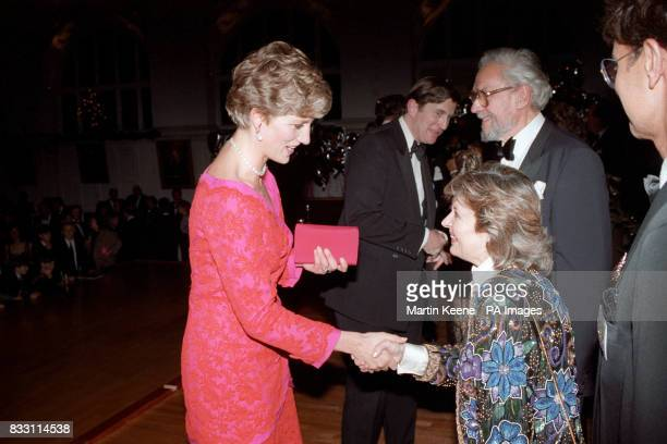The Princess of Wales meets Hannah Gordon at the London's Royal School of Music after she and her two sons Prince William and Prince Harry attended...