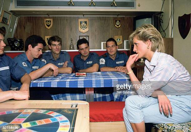 The Princess Of Wales On Board Hms Trafalgar A Nuclear Submarine Meeting Some Of The Crew Members