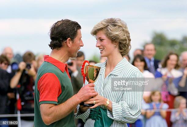 The Princess Of Wales Presenting Prince Charles With A Trophy After His Victory In A Polo Match